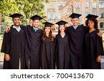 six successful joyful multi... | Shutterstock . vector #700413670
