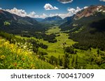 Beautiful green Gothic Valley above Crested Butte Colorado - stock photo