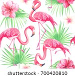 seamless tropical pattern with... | Shutterstock . vector #700420810