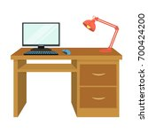 a desk with a computer and a... | Shutterstock .eps vector #700424200