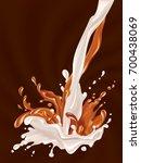 milk and chocolate flow.... | Shutterstock .eps vector #700438069