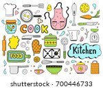 set of hand drawn doodle with... | Shutterstock .eps vector #700446733