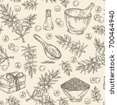 seamless pattern with juniper ... | Shutterstock .eps vector #700464940