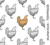 chicken vintage engraved... | Shutterstock .eps vector #700490638
