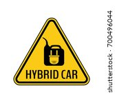 hybrid car caution sticker.... | Shutterstock .eps vector #700496044