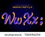 neon 3d typeset with rounded... | Shutterstock .eps vector #700496554