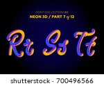neon 3d typeset with rounded... | Shutterstock .eps vector #700496566