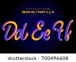 neon 3d typeset with rounded... | Shutterstock .eps vector #700496608