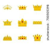 Medieval Crown Icon Set. Flat...
