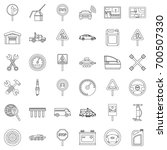 drive icons set. outline style... | Shutterstock .eps vector #700507330