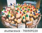 one of the pencils selected... | Shutterstock . vector #700509220