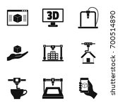 3d printer innovation icon set. ...