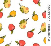 fresh apple and pear hand drawn ...   Shutterstock .eps vector #700527010
