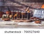 craft beer flight  halloween... | Shutterstock . vector #700527640