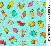 colorful cute cartoon seamless...   Shutterstock .eps vector #700528666