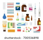 set of medicine bottles with... | Shutterstock .eps vector #700536898