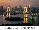 tokyo skyline with tokyo tower... | Shutterstock . vector #700536970