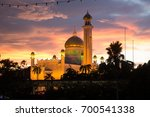 Small photo of OMAR ALI SAIFUDDIEN MOSQUE, SERI BEGAWAN, BRUNEI, NOVEMBER, 2016: the Omar Ali Saifuddien Mosque under sunset at Seri Begawan