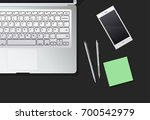 desktop with phone and the... | Shutterstock .eps vector #700542979
