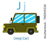 illustrator of j for jeep car | Shutterstock .eps vector #700545220