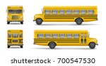 yellow school bus front  back... | Shutterstock .eps vector #700547530