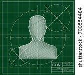 vector blueprint user icon on...