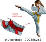 young karate girl in kimono...   Shutterstock .eps vector #700556263