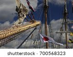 the mast of sailing ship with...   Shutterstock . vector #700568323