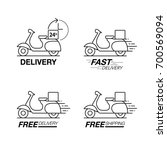 delivery icon set. scooter... | Shutterstock .eps vector #700569094