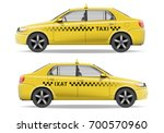 realistic yellow taxi car. car... | Shutterstock .eps vector #700570960