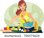 mixing a salad | Shutterstock .eps vector #700573624