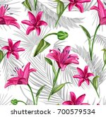 vector lily flower seamless...