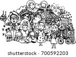 hand draw of woman group in... | Shutterstock .eps vector #700592203