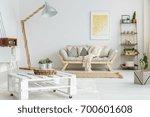 wooden shelf with plants  balls ... | Shutterstock . vector #700601608