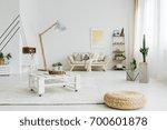 designed  wooden table on... | Shutterstock . vector #700601878