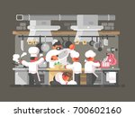 group of chefs cooks in kitchen ... | Shutterstock .eps vector #700602160