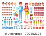 constructor students isolated... | Shutterstock .eps vector #700602178
