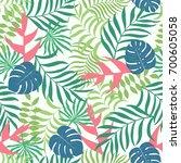 tropical background with palm... | Shutterstock .eps vector #700605058