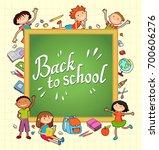 children near the blackboard.... | Shutterstock .eps vector #700606276