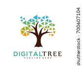 digital tree shape icon logo... | Shutterstock .eps vector #700607104