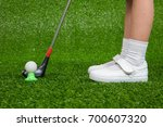 closeup of a child golfer with...   Shutterstock . vector #700607320