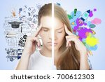 abstract thoughtful male female ... | Shutterstock . vector #700612303