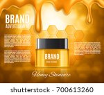 cosmetic ads template. honey... | Shutterstock .eps vector #700613260