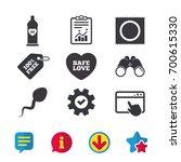 safe sex love icons. condom in...