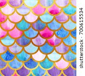 Mermaid Scales. Watercolor Fis...