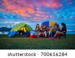 camping of happy asian young... | Shutterstock . vector #700616284