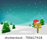 christmas tree  and santa's cap ... | Shutterstock .eps vector #700617418