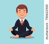 businessman meditating in lotus ... | Shutterstock .eps vector #700622500