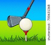 Putter And Golf Ball Pop Art...