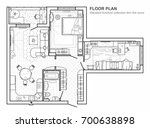 floor plan with furniture in... | Shutterstock .eps vector #700638898